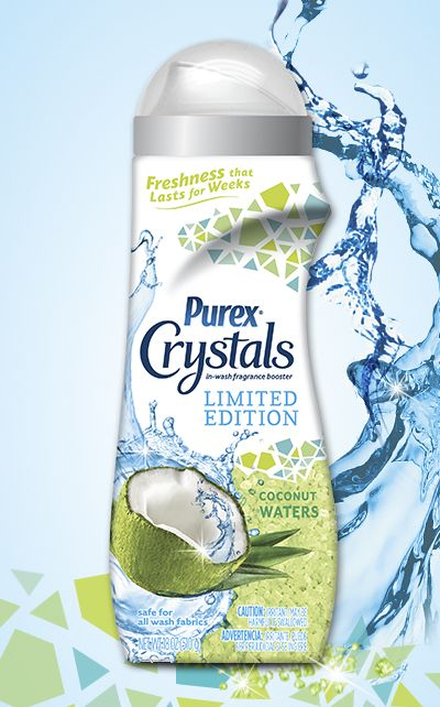 Purex Crystals Limited Edition – Coconut Waters: Give your laundry an incredible tropical breeze freshness that lasts for weeks.