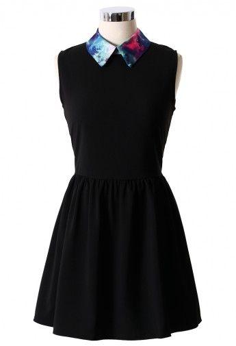 Galaxy Collar Black Skater Dress -- Ahhh, this is so cute.