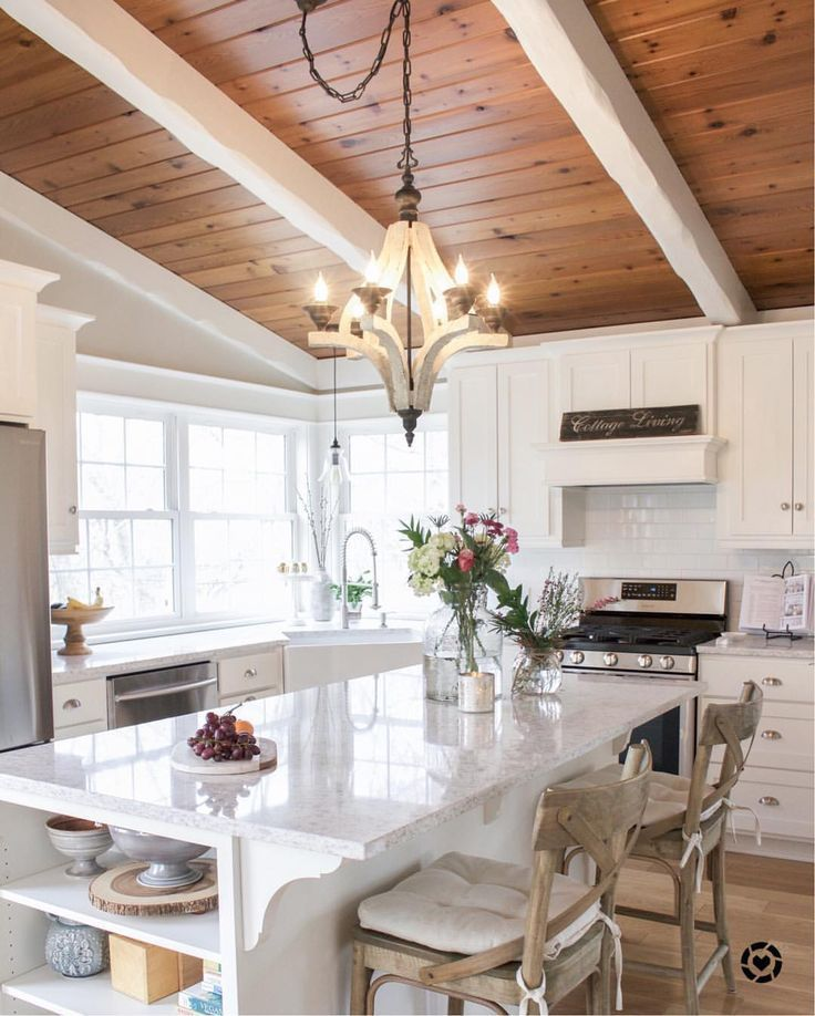Wood Ceiling And Painted Beams
