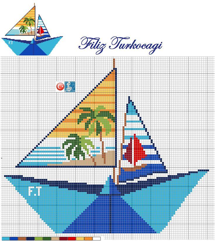Koca yaz geldi geçiyor bir tane desen paylaşmamışım :)) Ben de kağıttan bir kayık yaptım :)) Designed by Filiz Türkocagi...( Paper ship )