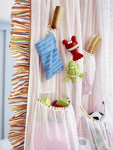 Perfect Shower Storage  Tuck kids' bath toys and gear into a liner that hangs out of sight behind the shower curtain. Made from athletic mesh, this bag drip-dies fast.  How to Make It  -- Size the liner to one width of mesh.  -- Sew a strip of fabric along the top edge for a stable surface. Add slots for shower curtain pins.  -- Customize the lines by making a series of mesh pockets to hold gear.  -- Cut mesh to size for pockets, then stitch a length of contrasting fabric, at the top, to…