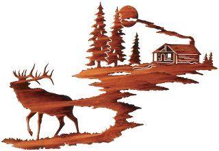 Elk with Log Cabin Metal Wall Art : Cabela's