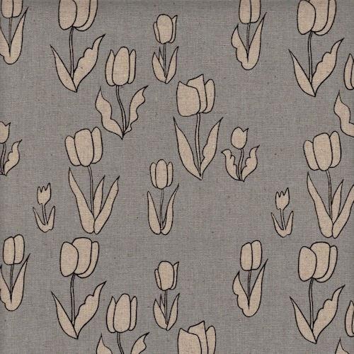 Distinctive Sewing Supplies - Tulip Print - Grey Natural