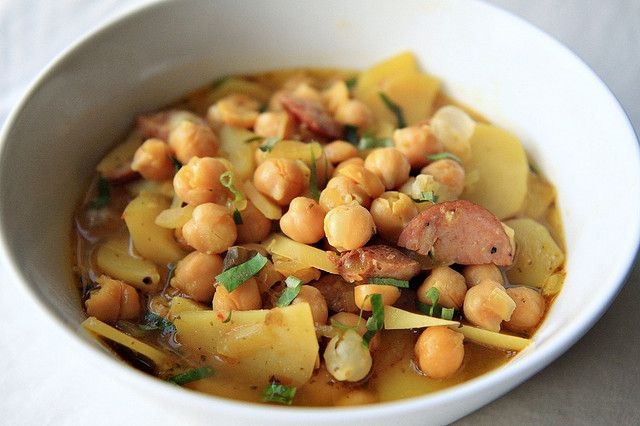 Spanish Bean Soup. I'm making this right now.  This is my recipe but I use Chorizo sausage.  It's SO yum!