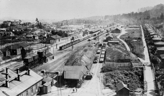 View of Ohakune, looking north, showing the railway station and railway yards