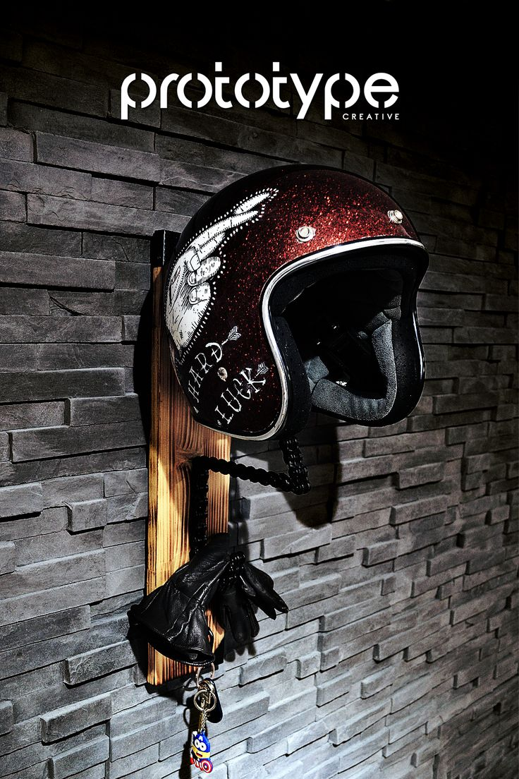 Prototype Creative - Solo Chain Helmet Rack 4 - DIY - Motorcycle chain rack created from motorcycle chain and burned wood
