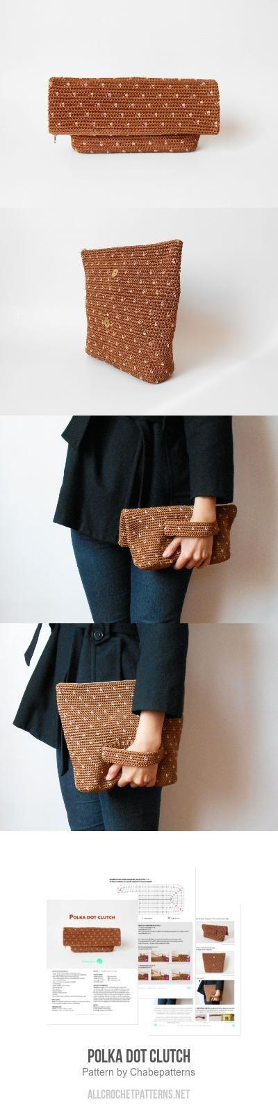 Polka dot clutch crochet pattern