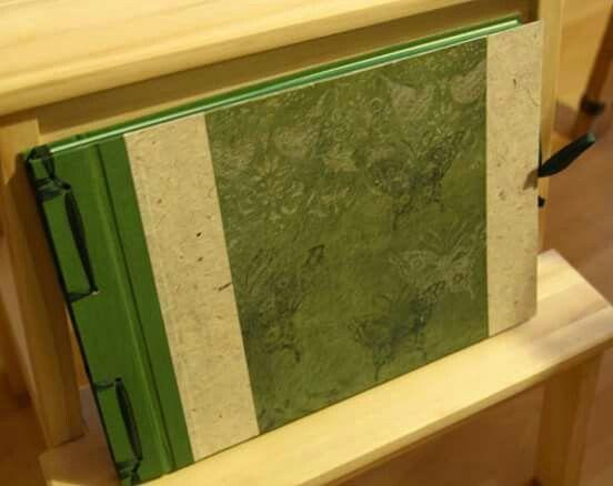 Photoalbum, japanese binding - canvas, handmade paper, scrapbook paper with butterflies