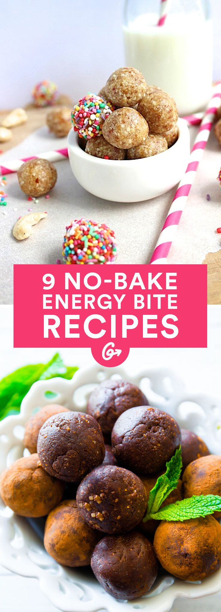 Filled with chocolate, covered in rainbow sprinkles, and loaded with all kinds of  healthy ingredients, these filling bites are some of the tastiest and easiest snacks to make and eat on the go. #healthy #energy http://greatist.com/eat/healthy-energy-bites-recipes