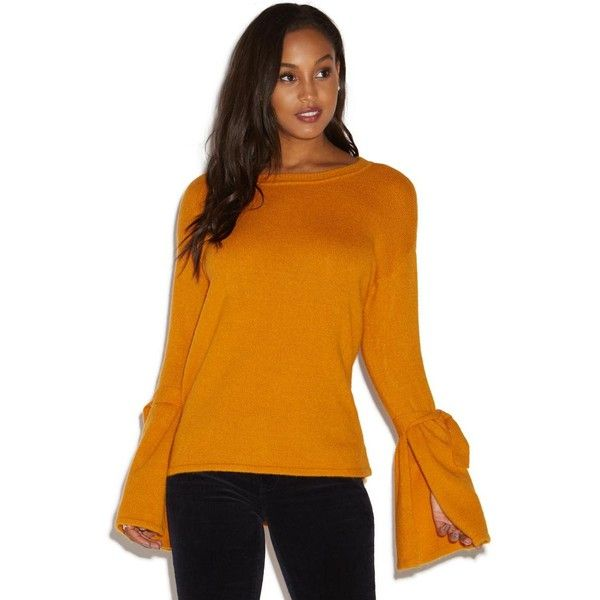 ShoeDazzle Tie Sleeve Sweater Womens Desert Sun ❤ liked on Polyvore featuring tops, sweaters, desert sun, orange sweater, orange top, tie top, tie sleeve top and tie sweater
