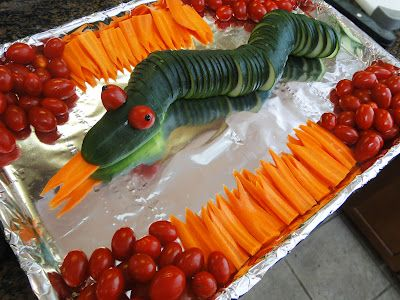 The Ninjagos fight the snakes this year, so we went with a cucumber snake with extra carrot tongues you could even stick in your mouth and try yourself.