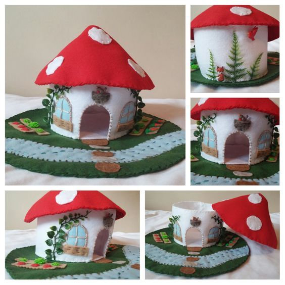 Red Mushroom House Playscape Play Mat Felt Wool Gnome Smurf Woodland Forest Fungi Woods Child Dollhouse Miniature Animal Doll Fairy Home Hut by MyBigWorld2015 on Etsy: