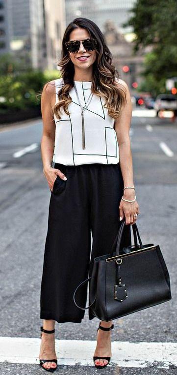 Black cropped wide leg dress pants, gap sleeveless blouse, cardigan, heels