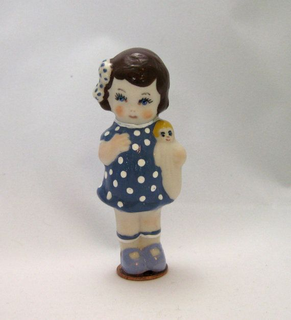 Porcelain Penny Doll Girl with Doll by dollladydiana on Etsy, $12.00