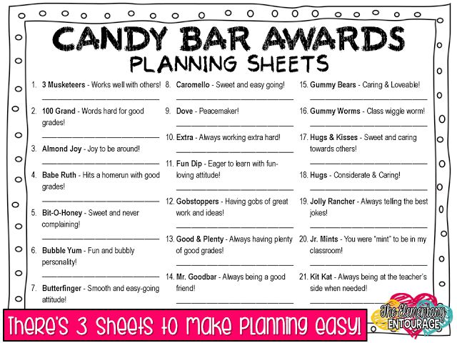 Classroom Award Ideas Elementary ~ The elementary entourage wrapping up your year with candy
