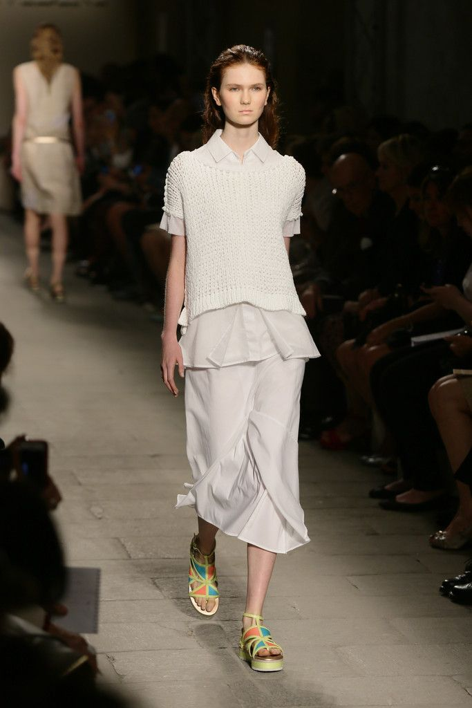 A model walks the runway during the Cividini - Show as part of Milan Fashion Week Womenswear Spring/Summer 2015 on September 20, 2014 in Milan, Italy.