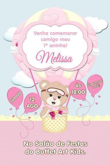 608a313fad Convite Digital Virtual Ursinha Baloeira | Convites Personalizados | Festa  com decoração de balões, Convites digitais, Convite de aniversário