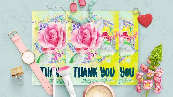 Florist Thank you Card Template by MintedCrafts on Etsy