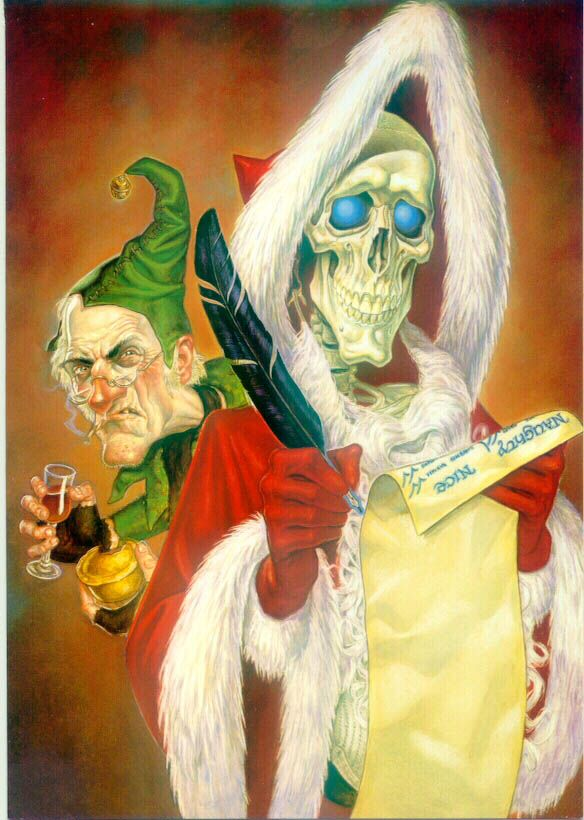 Hogswatch card with Death as the Hogfather and Alfred as the Elf, by Paul Kidby