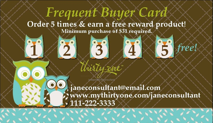 Thirty-One Owls Frequent Buyer Card. $12.95, via Etsy.