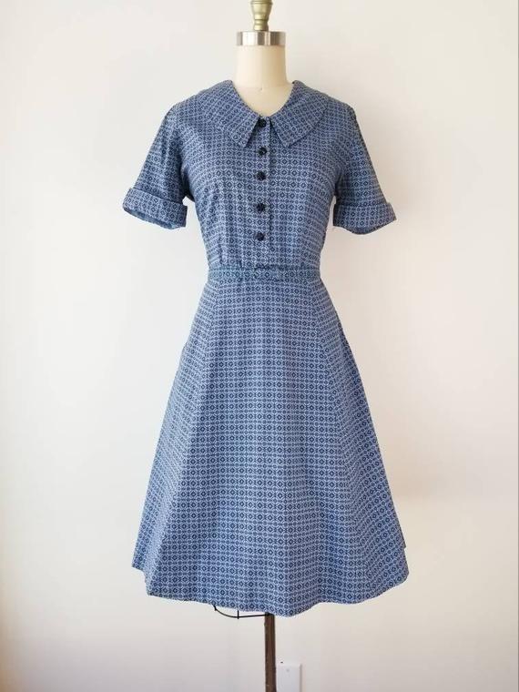 Vintage 1950s Size M Blue Black Geometric Print Cotton Dress With Origianl Belt By Marta D 50s Cotton Day Dress Medium 27w 28w Vintage Dresses 50s Vintage
