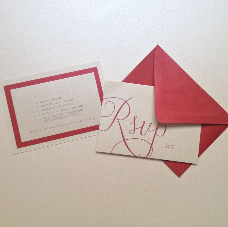 funny rsvp card in red and ivory