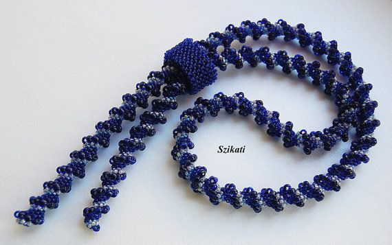 FREE SHIPPING Dark Blue Seed Bead Necklace, Statement Beadwork Lariat, Cellini Spiral, Women's Beadwoven Fashion Jewelry, Gift for Her, OOAK