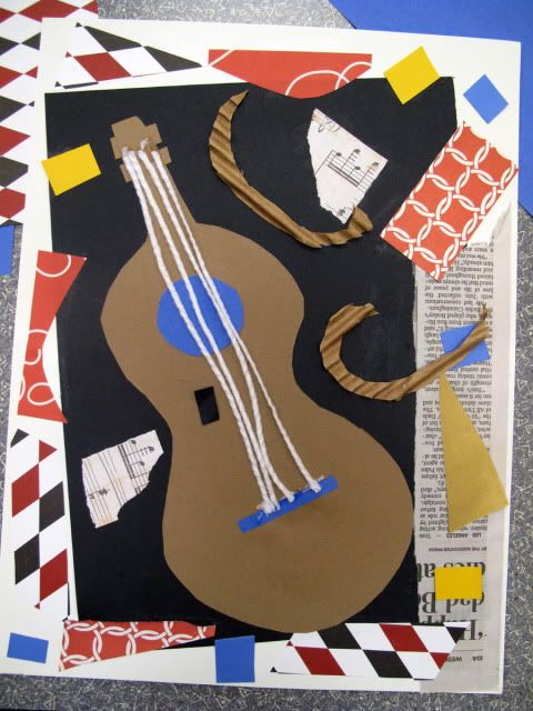 Picasso Guitar Collage | Pablo Picasso Art Projects | Teach your students about Cubism with this fun collage project. Perfect for 5th grade and great for using up scraps of construction paper, yarn, and cardboard.