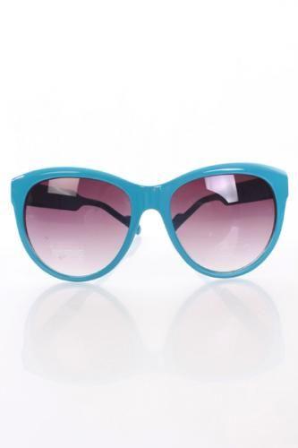 Turquoise Plastic Frame Gradient Tint Lens Sunglasses