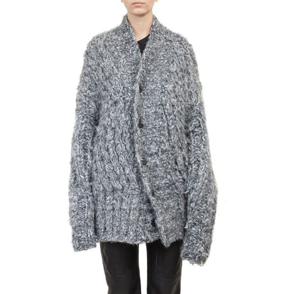 Ann Demeulemeester Silk and alpaca over-sized cardigan featuring polyvore, women's fashion, clothing, tops, cardigans, grigio, oversized tops, over sized cardigan, cardigan top, alpaca cardigan and long sleeve cardigan