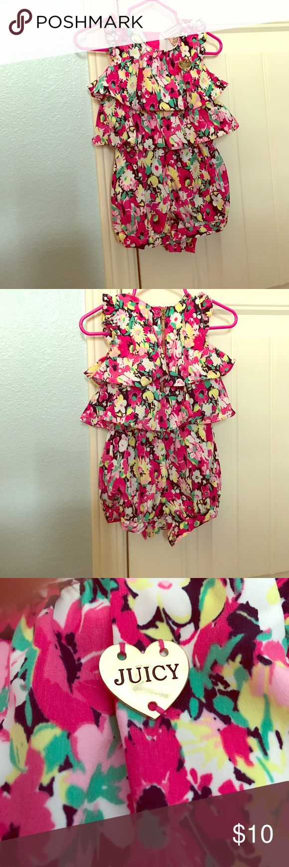 ✨6/9 month JUICY COUTURE baby girl romper✨ Aloha! Flower print romper. NWOT.  💯 % polyester Juicy Couture One Pieces