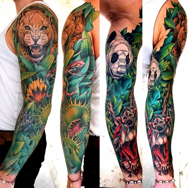 #leopard #leopardtattoo #panther #panthertattoo #panda #pandatattoo #frog #frogtattoo #monkey #monkeytattoo #jungle #jungletattoo #armtattoo #tattoo #colorstattoo #grenouille #flower #flowertattoo #geometric #geometrictattoo #tattoorealist #dusty #brasseur #duza #dustyduza @tin_tin_tatouages