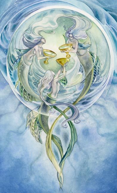 ☆ Three of Cups: Celebration, dancing, singing, frienship, companionship, relying on others, community and team spirit :¦: Art By ~Puimun ☆