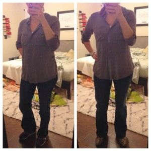 12.16.15 - gray button down tab sleeve blouse, bootcut trouser jeans, snake skin print loafers