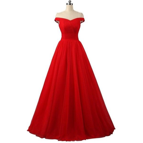 Duraplast Women's Off Shoulder Prom Dress Tulle Princess Evening Gown ($60) ❤ liked on Polyvore featuring dresses, gowns, red evening gowns, off-the-shoulder dress, off the shoulder gown, red evening dresses and red gown