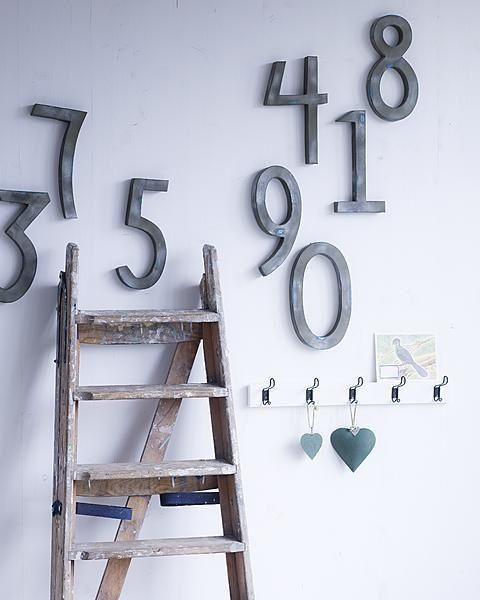 wall decor with numbers, can kiddie it up for Claire's room :)