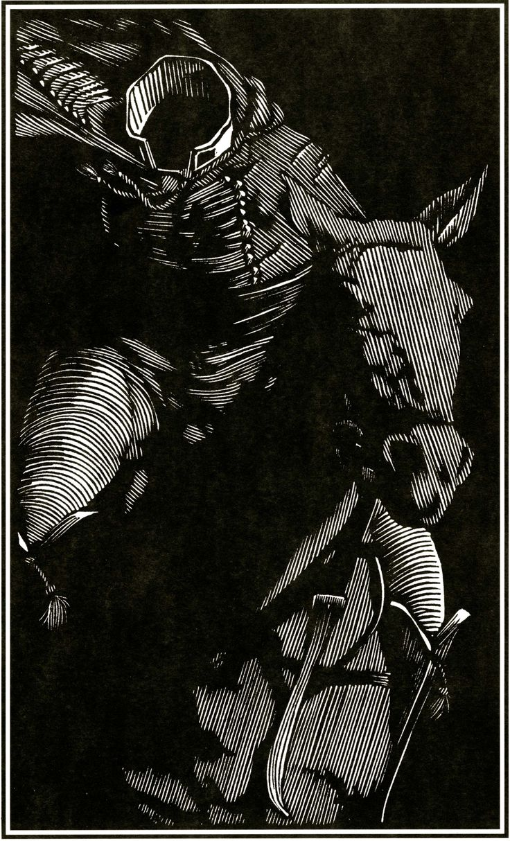 The Headless Horseman, by Barry Moser, woodcut.
