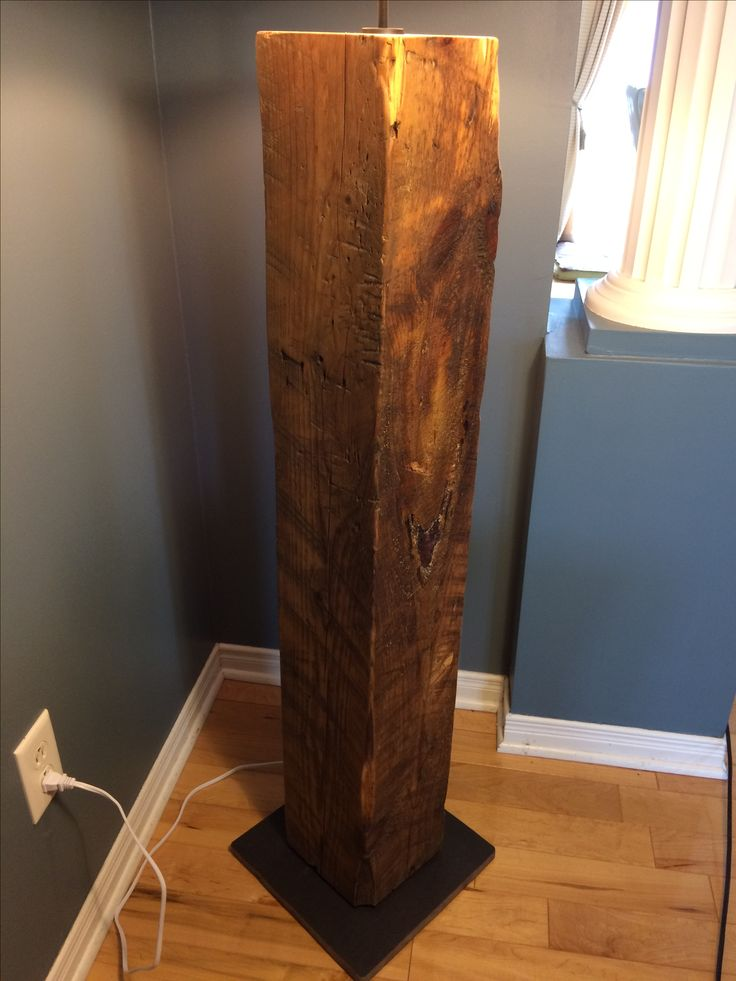 Reclaimed Wood Beam Floor Lamp with Metal Base