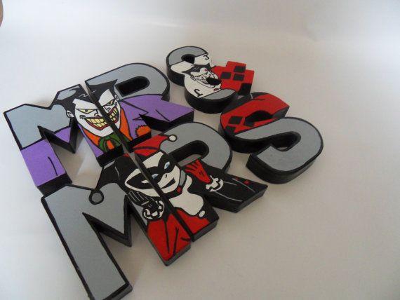 Wedding Mr & Mrs comic decor joker & harley quinn