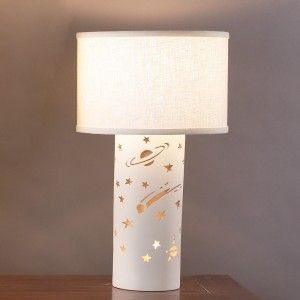 Stars and planets on a kids' lamp. Perfect for an outer space theme bedroom.