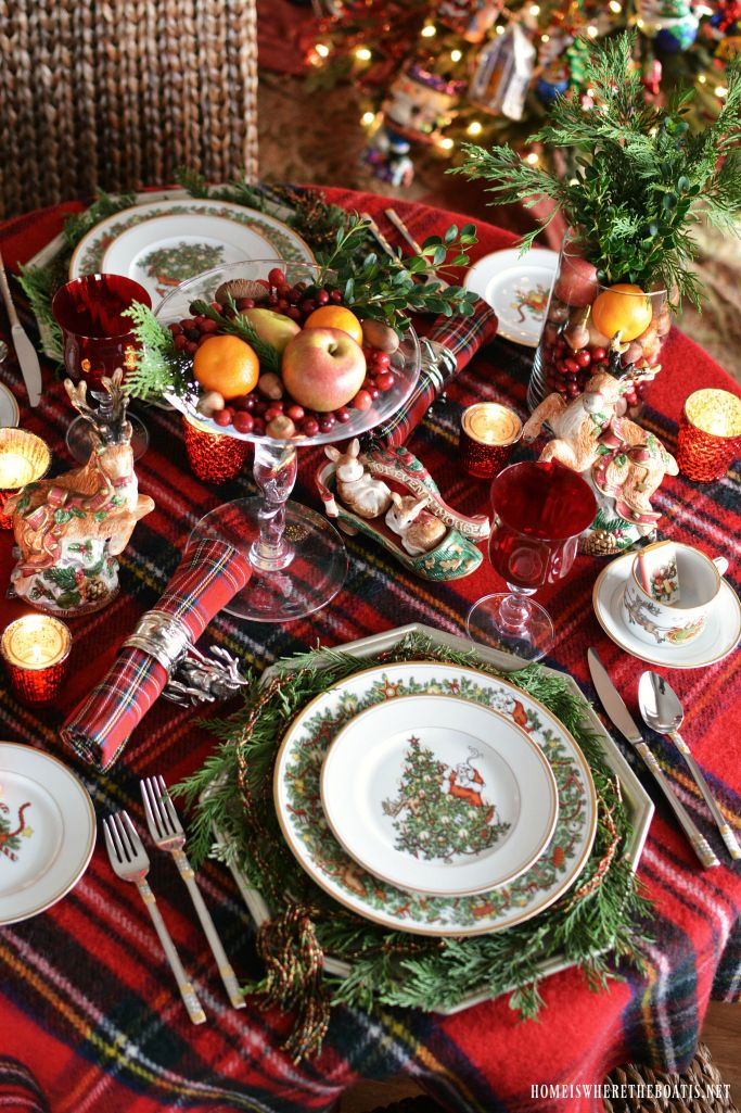 A Christmas table for two, I set by the tree, The lights all aglow, the twinkle to see. Vases of fruit, with greenery and tartan, Make a festive foundation and setting to hearten. St. Nicholas Fitz…