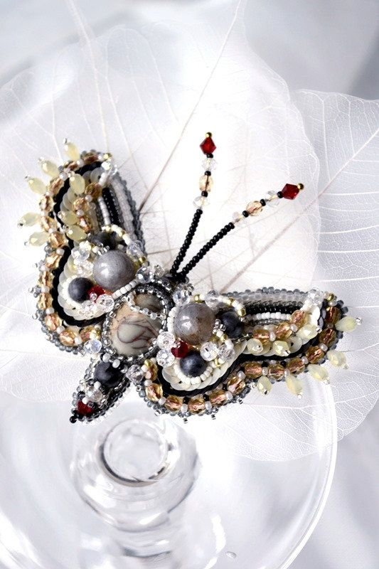 Moth brooch READY to ship. Nature jewelry, insect jewelry, bead embroidery