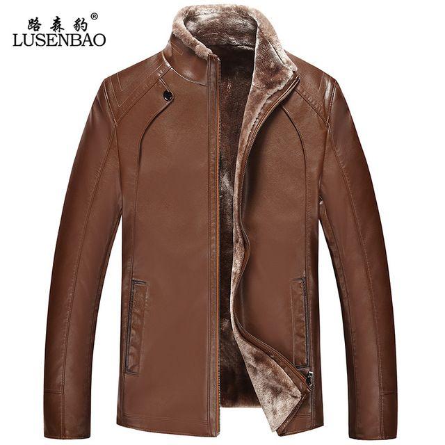 PU de moda de alta calidad de piel de oveja abrigo de invierno chaqueta de lana para hombre abrigo de cuero artificial de los hombres de cuero, además de terciopelo grueso