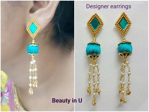 Designer Silk Thread Earrings Tutorial - YouTube