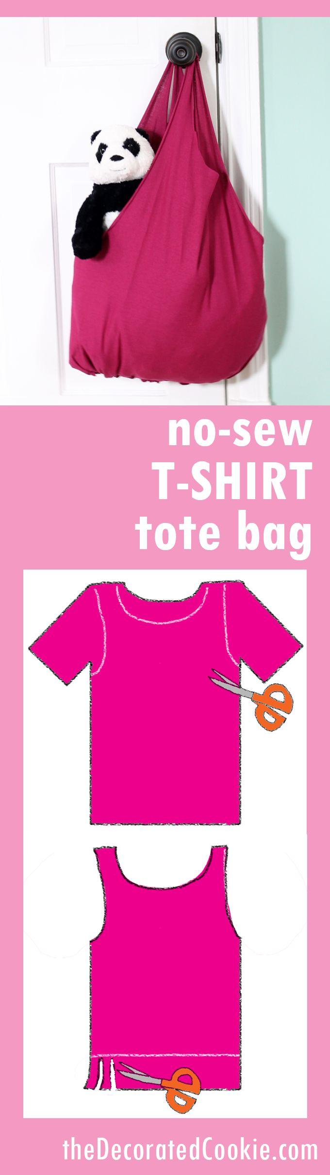 no-sew T-shirt tote bag EASY craft