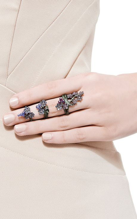 18K Black Gold Harem King Ring With Fancy Saphires, Amethysts And Tsavorites by Lydia Courteille for Preorder on Moda Operandi