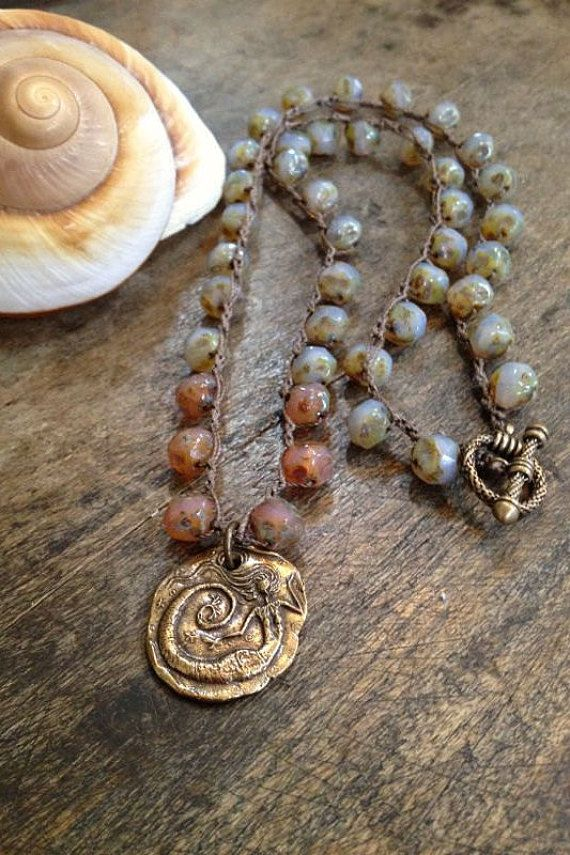 "Mermaid of the Sea, Crocheted Necklace Knotted ""Vintage Beach Chic"" Mystical by Two Silver Sisters"