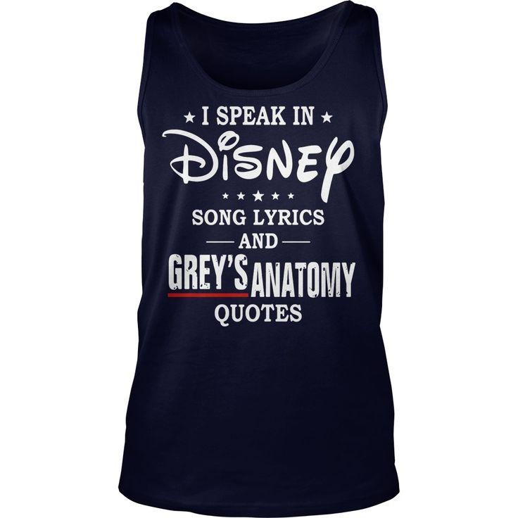 I speak in disney song lyrics and grey's anatomy quotes tank top