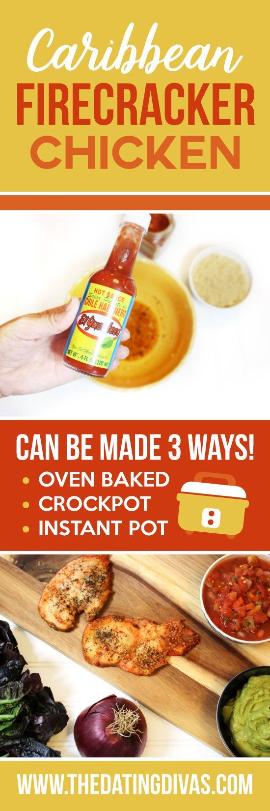 Calling all Insta-Pot lovers! Having meals that are QUICK and EASY are necessary these days! WHAT'S YOUR GO-TO QUICK DINNER?? We LOVED teaming up with El Yucateco® to try out and share this Caribbean Firecracker Chicken Recipe (ad)! Our favorite part? You can make it in the oven, crockpot OR Instant Pot. #KingofFlavor #FieldToBottle #ad