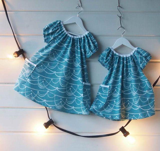 "Liljan Lumo: Kaksi ""Orelmaa"" talven juhliin tai kesän rientoihi... Two dresses for the one and two year old girls. Fabric by Nosh Organics. Made by Tiina Lilja/ Liljan Lumo"
